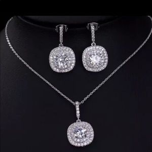 Jewelry - Silver-tone Crystal Pave Halo Necklace & Earrings